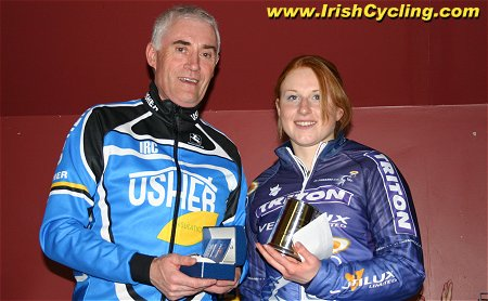 Promoting club sponsor Mick Usher presents Siobhan Dervan from Cork with  the leading woman s prize a8428f8a1